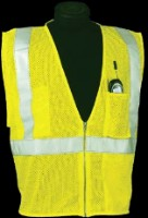 ANSI Class 2 Mesh Zip Closure Safety Vest - Lime / Orange  w/ Silver Reflective