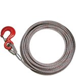 Winch Cable 100ft x 3/8 Fiber Core w/ Hook